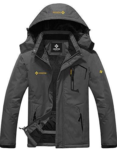 GEMYSE wasserdichte Skijacke für Herren Winddichte Fleece Outdoor-Winterjacke mit Kapuze (Eisen grau,XL)