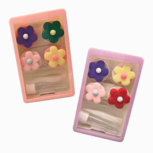 4 piezas lindo caso de la lente de contacto caja con la solución del envase herramienta de eliminación de pinzas de botella, colorido ojo portátil..