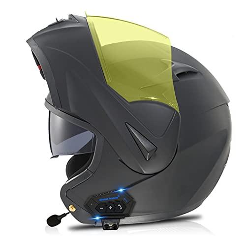 LIRONGXILY Casco Moto Modular Casco Moto Modular con Bluetooth Integrado Casco Integral con Doble Visera ECE Homologado Casco de Moto para Hombre o Mujer (Color : J, Size : 57-58(M))