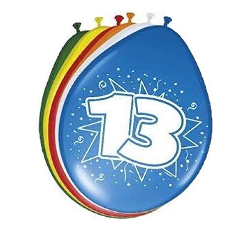 Folat 08214 13. Geburtstag Ballons 30 cm-8 Stück, Mehrfarbig