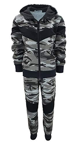 Fashion Boy Jungen Army Sweatanzug Tarn Freizeitanzug in Grau Camouflage, Gr. 128-134, JF278.10