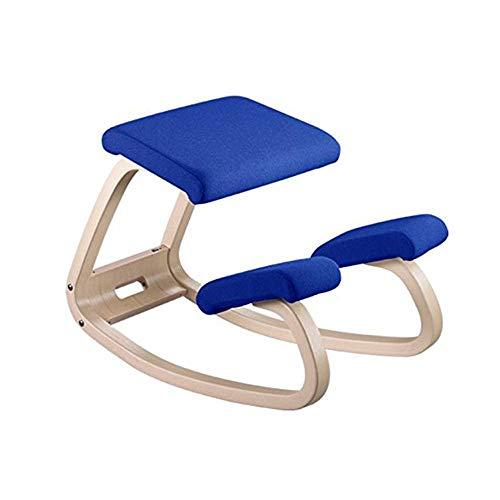 Ergonomisches Balancing Kneeling Chair | Rocking Posture Wood Stool | Für das Home Office & Desk Chair | Großer Seat, Dicke Knie-Kissen,Blue