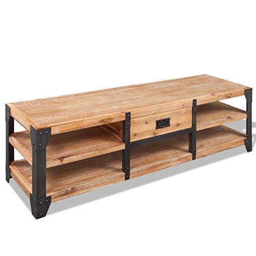 Festnight TV-Lowboard TV-Schrank aus Massives Akazienholz Fernsehschrank Fernsehtisch mit einer Schublade Lowboard TV Tisch Möbel Board 140 x 40 x 45 cm Braun und Schwarz