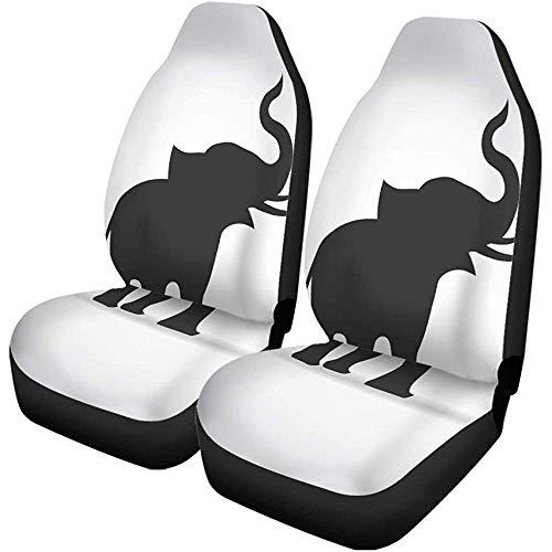 Beth-D Set van 2 autostoelhoezen staart silhouet olifanten kofferbak alleen dier kind opknoping pose auto voorstoel protector past