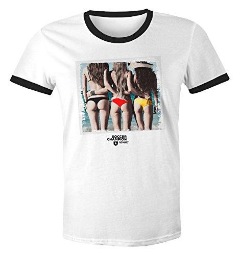 Herren WM-Shirt Deutschland Fan Sexy Bikini Girls Frau Drauf Strand Deutschland Farben 2018 Retro weiß-schwarz L