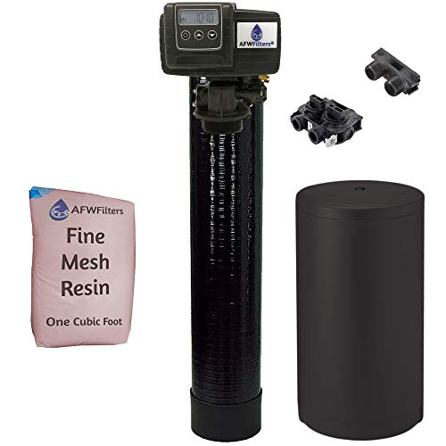 IRON Pro 2 Combination water softener iron filter Fleck 5600SXT digital metered valve for whole house (32,000 Grains, Black)