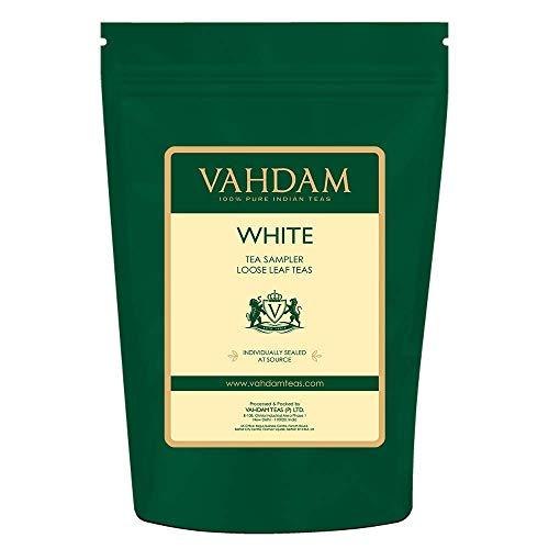 VAHDAM, Weißer Tee Lose Blatt Probierset | 5 TEES - Himalaya Weißer Tee, Silbernadel Weißer Tee, Blauer Bergweißer Tee, Perle Darjeeling Weiße Teeblätter - (25 Tassen, 50g)