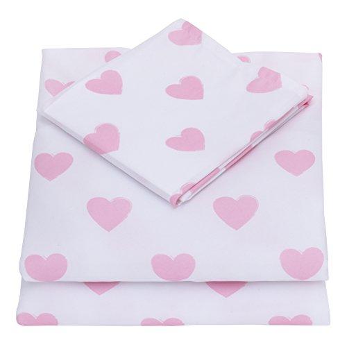 NoJo 3-Piece Toddler Sheet Set, Pink & White Hearts, 52