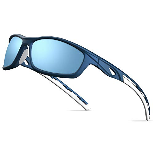 TOREGE Polarized Sports Sunglasses For Man Women Cycling Running Fishing Golf TR90 Frame TR08 (Extinction Blue)