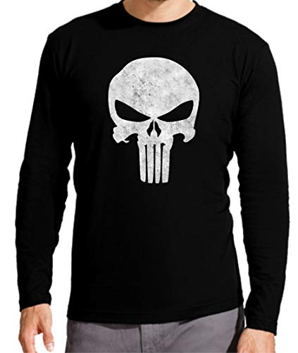 Camiseta Manga Larga de Hombre Punisher Castigador Comic 003 XXL