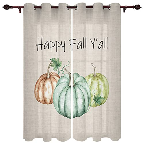 """Thanksgiving Pumpkin Autumn Burlap Textured Window Curtains with Grommets Kitchen Drapes, Retro Happy Fall Y'all 2 Panels Window Treatment Drapes for Living Room/Bathroom/Office 55"""" W x 39"""" L"""