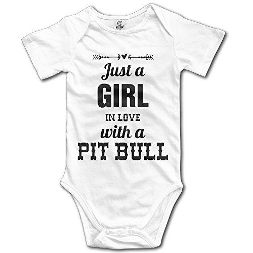 Zananala Just A Girl In Love with A Pit Bull - Body para bebé (4 tamaños), Blanco, 6 Meses