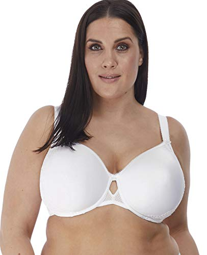 Elomi Women's Plus Size Charley T-Shirt Seamless Breathable Spacer Underwire Bra, White, 42E