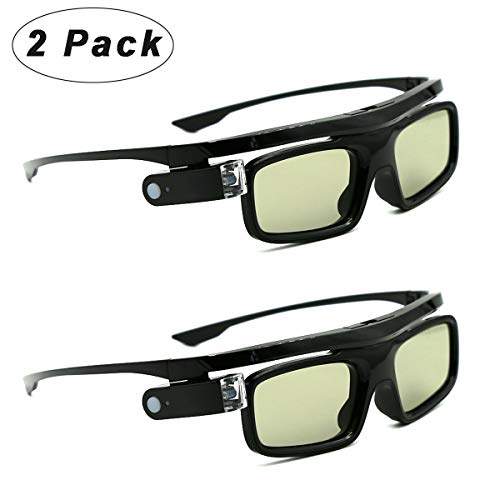 3D Glasses, Active Shutter Rechargeable Eyewear for 3D DLP-Link Projectors Cocar Toumei - Pack of 2
