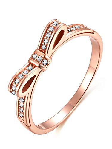 Presentski 925 Sterling Silber Rotgold Mode Bogen Ring mit Zirkonia als Geburtstag Freundin
