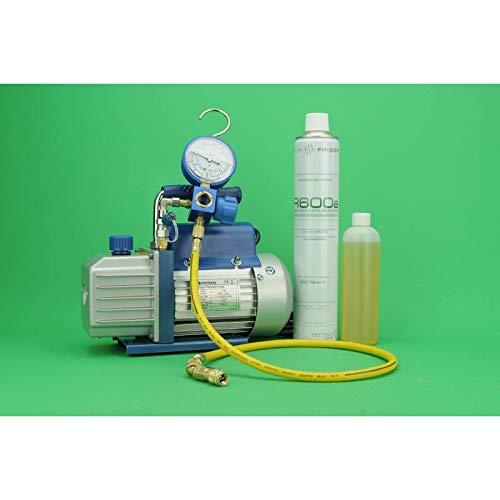 REPORSHOP - Kit Carga Gas Refrigerante Bomba Vacio + Manometro 1 Vias R600 + Manguera + R600
