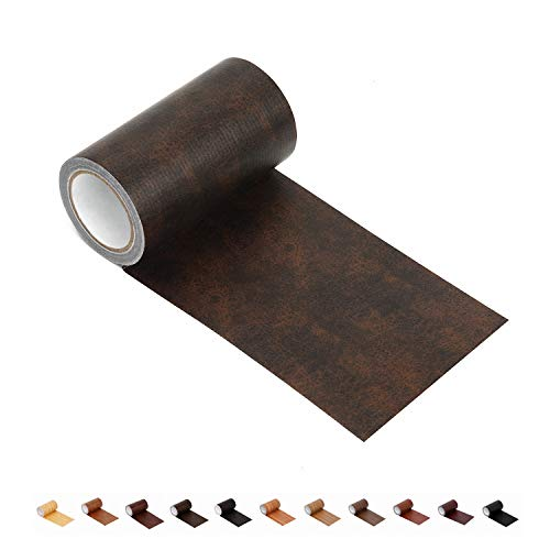 "Leather Repair Tape Patch Leather Adhesive for Sofas, Car Seats, Handbags, Jackets,First Aid Patch 2.4""X15' (Coffee)"