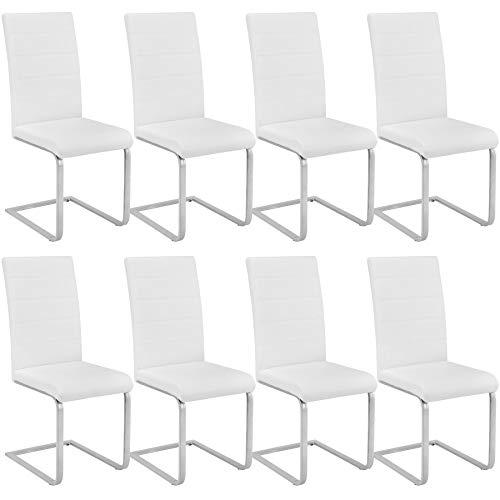 tectake 800883 8er Set Esszimmerstuhl, Kunstleder Stuhl mit hoher Rückenlehne, Schwingstuhl mit ergonomisch geformter Rückenlehne (8er Set weiß | Nr. 404128)
