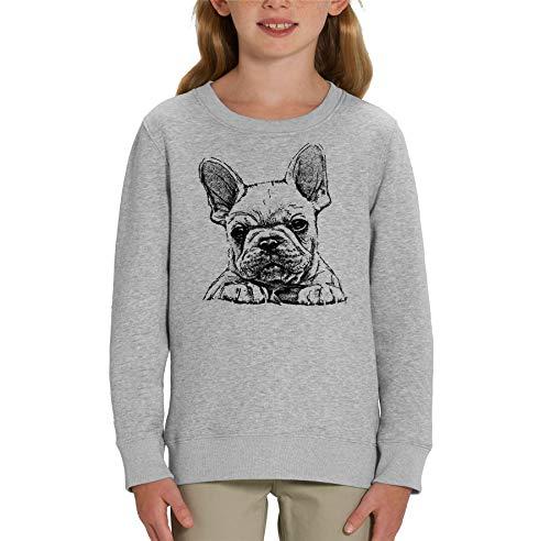London Co. French Bulldog Frenchie Sketch Print - Felpa unisex per bambini Grigio M