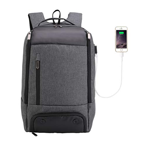 Business Laptop Backpack with Shoe Compartment, MarsBro Travel Sport Gym Work Computer Bag with USB Charging Port, Insulation Pouch Fits 17.3 Inch Laptop for Men(17.3Inch-Grey)