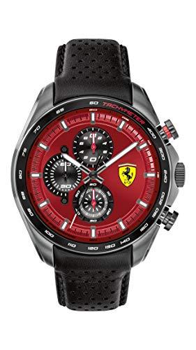 Ferrari SPEEDRACER Reloj de cuarzo de acero inoxidable con correa de piel de becerro, negro, modelo 0830650