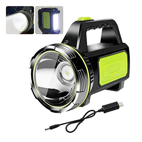 Luz de camping 1000M recargable Campamento Aventura excursión la caza linterna mano de la seguridad de la antorcha Luz de trabajo portátil USB Reflector xenón LED ( Emitting Color : With Side light )
