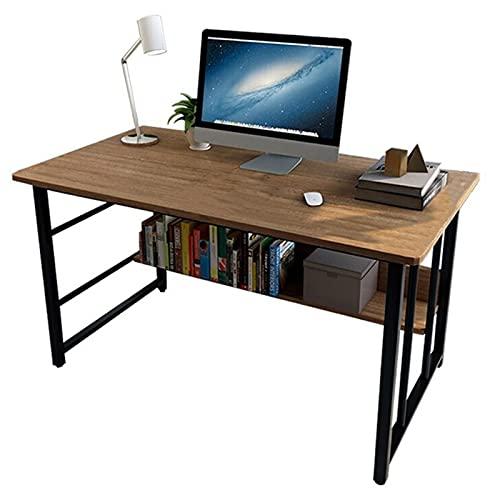 Escritorio de computadora industrial con estante de almacenamiento Estación de trabajo de mesa de escritura para estudiar para la oficina en casa Escritorio para juegos portátil con marco negro