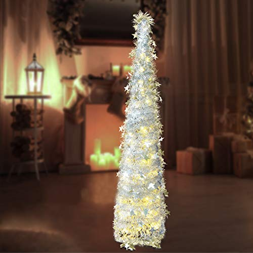 Christmas Garland Tree Decorations with 8 Modes Lights, 4.9ft Small Pop up Outdoor Skinny Pencil Prelit Tree Decor for The Home(Silver)