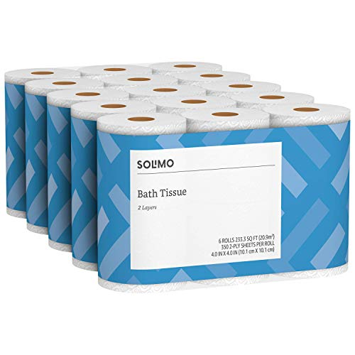 Amazon Brand - Solimo 2-Ply Toilet Paper, 350 Sheets per Roll, 30 Count
