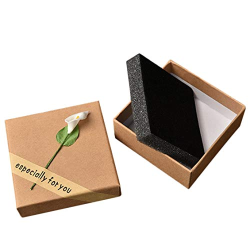 Cajas de Paquete de joyería de Papel Artesanal de cartón Cuadrado con Lirio Pequeña Caja de Regalo para Banquete de Boda Pendientes