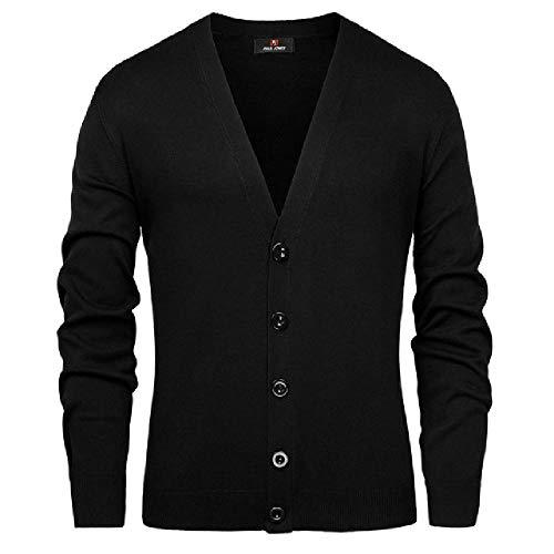 U/A - Abrigo de punto de manga larga con cuello en V para hombre Negro Negro ( XL