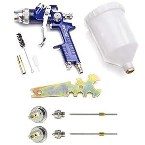 Pistola Pintura HVLP H-827P – sistema profesional de pintura con vaso de plástico de 600 ml y boquilla de acero inoxidable 1,4mm + 2x juego de boquillas de 1,7mm y 2,0mm