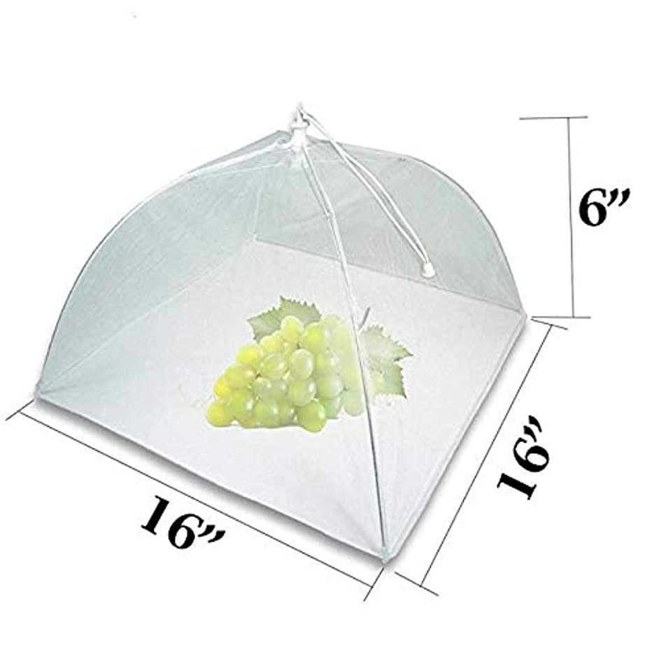 Set of 6 Large Pop-Up Mesh Screen Food Cover Tent Umbrella - 16 Inch White Reusable and Collapsible Outdoor Picnic Food Covers Net for Outdoor Picnic & BBQ Keep Out Flies, Bugs & Mosquitoes