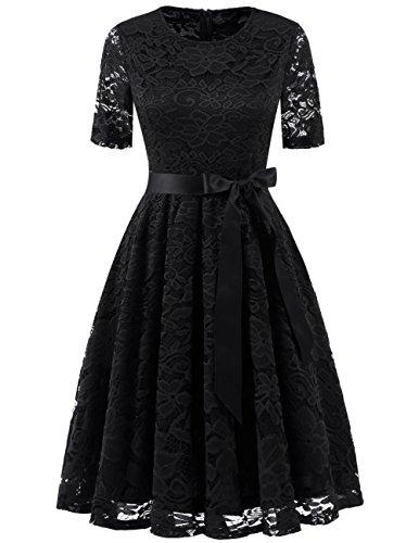 DRESSTELLS Damen elegant Spitzenkleid Cocktailkleid kurz Brautjungferkleid Abendkleid Knielang Schwarz Black M