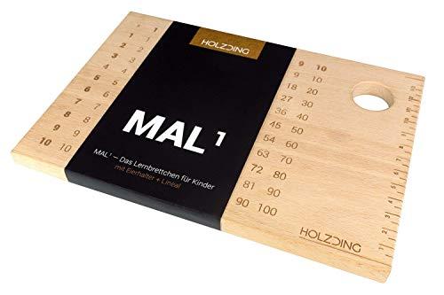 HOLZDING® Lern-Brettchen mit Eierhalter, Lineal, Geschenkidee für Kinder (MAL1)