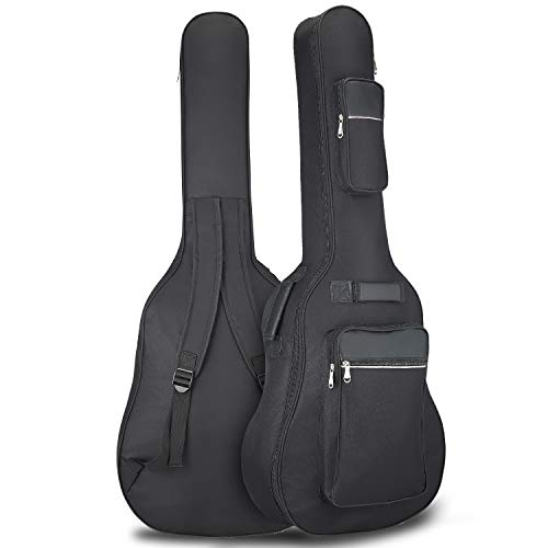 Guitar Gig Bag Guitar Case Waterproof Oxford Electric Guitar Gig Bag With Three Pockets Thick Padding 41'' Leather Guitar Bag For Acoustic Classical Guitar, Ukulele, Bass Guitar