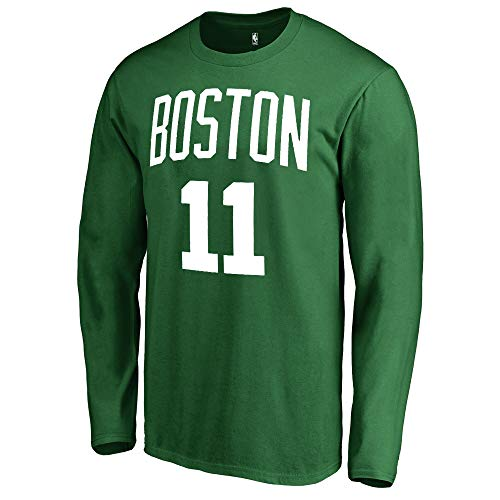 Outerstuff NBA Youth Game Time Team Color Player Name and Number Long Sleeve Jersey T-Shirt (Medium 10/12, Kyrie Irving Boston Celtics Green)