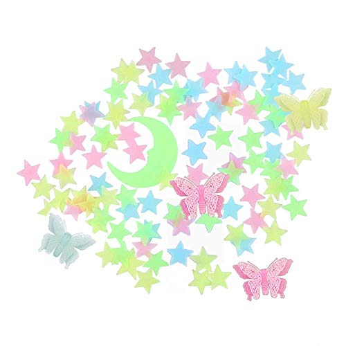 Glow in The Dark Stars Stickers for Ceiling, 208 PCS Colorful Glowing Stars,Moon and Butterfly for Kids Bedroom,Luminous Stars Stickers Create a Realistic Starry Sky, Room Decor,Wall Stickers