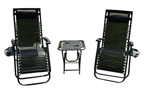 Reclining Zero Gravity Chairs Black Heavy Duty Folding Portable Design Relaxing Chair Sun Lounger Garden Furniture Outdoor Beach Pool Camping Set Of 2 Chairs With Cup holder's and Table