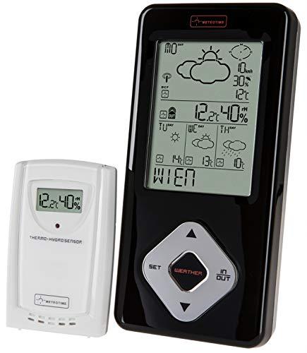 Zeit-Bar Funkwetterstation mit 4-Tages-Wettervorhersage/Funkuhr/Temperatur, Luftfeuchtigkeit, Wind