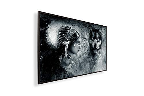 Könighaus Fern Infrarotheizung – Bildheizung in HD mit TÜV/GS - 200+ Bilder - Mit Thermostat - 7 Tages-Programm - 300 Watt -078. Indianer und Wolf Black Edition