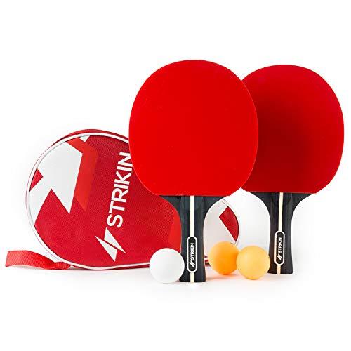 Premium Tischtennis-Set ⋅ 2 Allround Tischtennisschlaeger ⋅ Schläger Hülle ⋅3x3 Stern Bälle ⋅ Langlebige Ping Pong Beläge ⋅ Ergonomische Griffschalen ⋅ Für Profis & Kinder