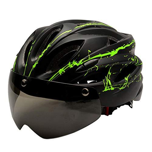 ZXHH Casco de Bicicleta Helmet Ciclismo montaña con Visera Magnética Seguridad Ajustable Desmontable Deporte Gafas de Protección Unisex Cascos Bici Adultos Patineta Patines,Certificación CE 58-61cm