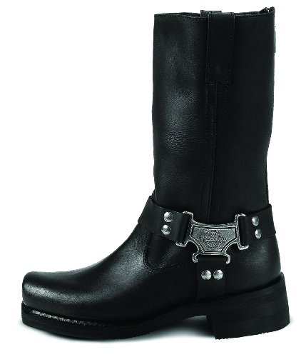 Milwaukee Motorcycle Clothing Company Classic Harness Leather Men's Motorcycle Boots (Black, Size 10.5EEE)