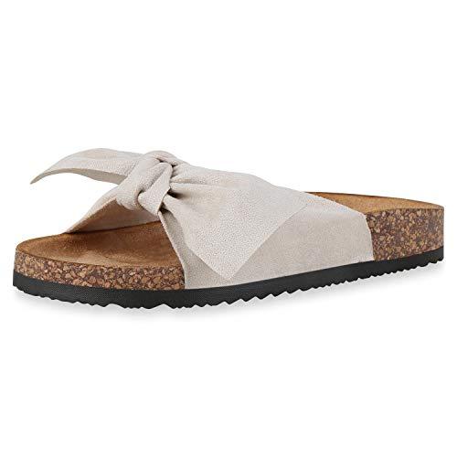 SCARPE VITA Damen Sandalen Leder-Optik Pantoletten Schleifen Korkoptik Profilsohle Flache Schuhe Bequeme Hausschuhe 182440 Beige Braun 37