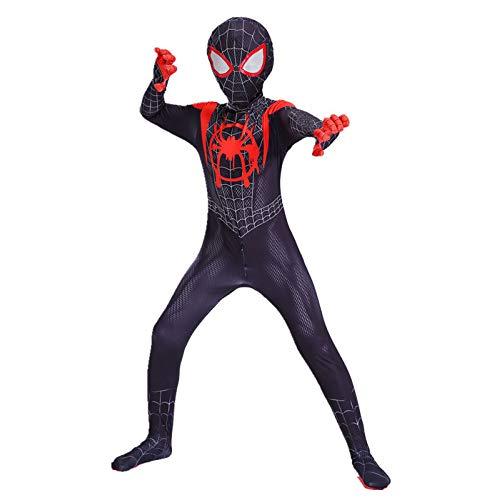 KOUYNHK Spiderman Miles Morales Maschera Tuta Tuta Zentai Black Spiderman Super Heros Halloween Costumi Cosplay per Uomo Bambini,Child-S