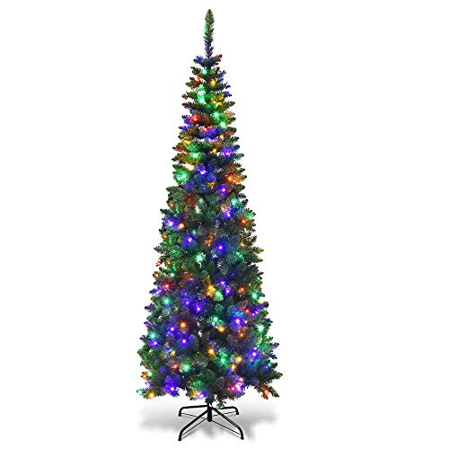 sale 6.5ft Pre-Lit Hinged Artificial Pencil Christmas Tree with 250 Multicolor Lights - VBIZ