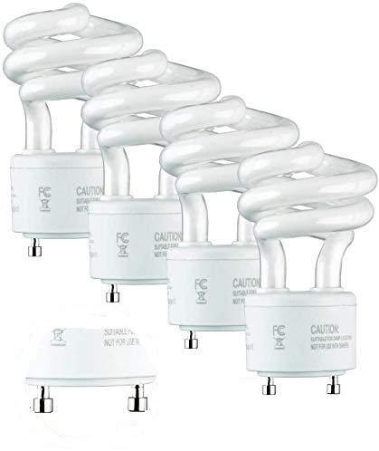 SleekLighting 13Watt T2 Spiral CFL GU24 Light Bulb Base 2700K 900lm -UL Approved,Compact Fluorescent -Warm White Light 4pack