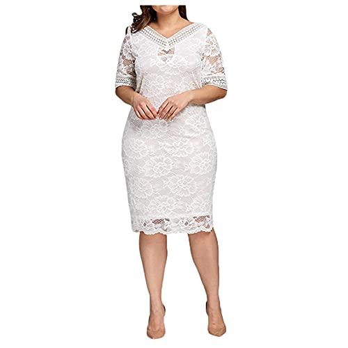 Damen Spitzenkleid Übergrößen Abendkleid für Mollige Ballkleid Plus Size Knielang Sommerkleider Lose Partykleid Maxikleid Frauenkleid Festliche Kleider für Frauen Große Größen Kleid für Hochzeit Gast