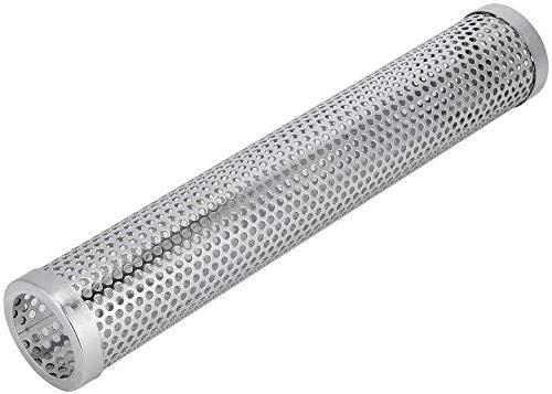 Grillrohr aus Edelstahl 304, rundes Sechseck,stilvoller 12-Zoll-tragbarer Grillraucher aus Edelstahl für elektrischen Grill, Gasgrill, Holzkohlegrill (ROUND)
